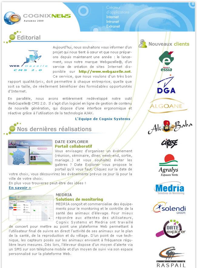 La Newsletter Automne de Cognix Systems