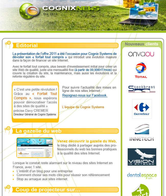 La Newsletter Eté 2011 de Cognix Systems