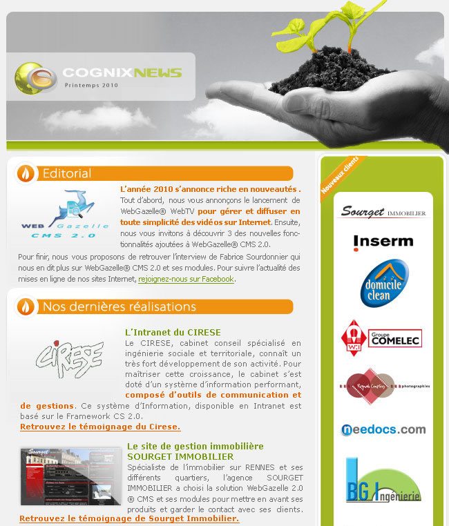 La Newsletter Printemps 2010 de Cognix Systems