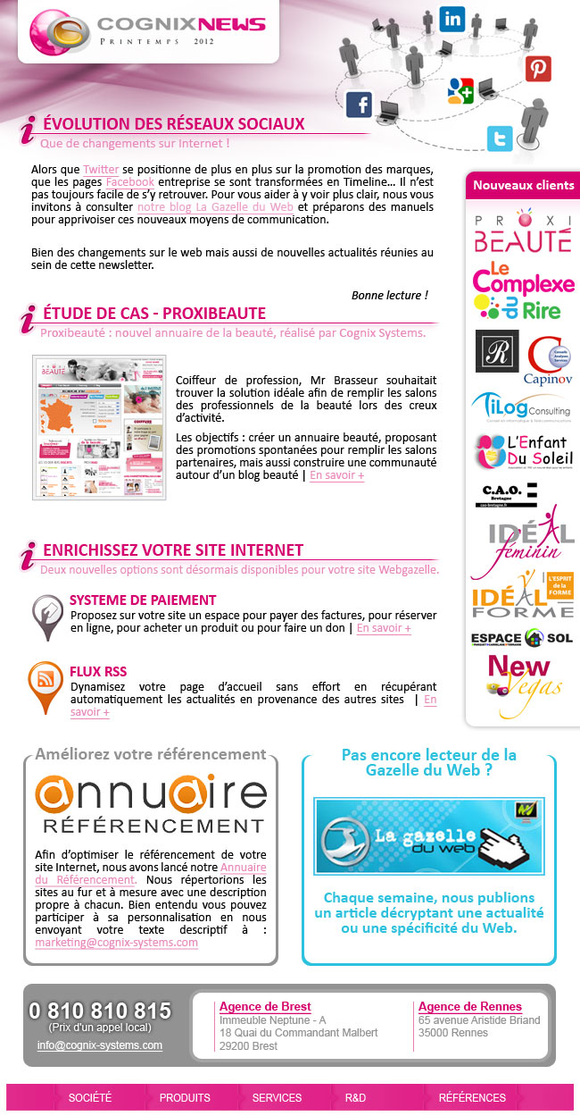 La Newsletter Printemps 2012 de Cognix Systems